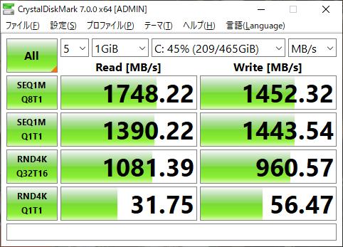 CrystalDiskMark測定結果