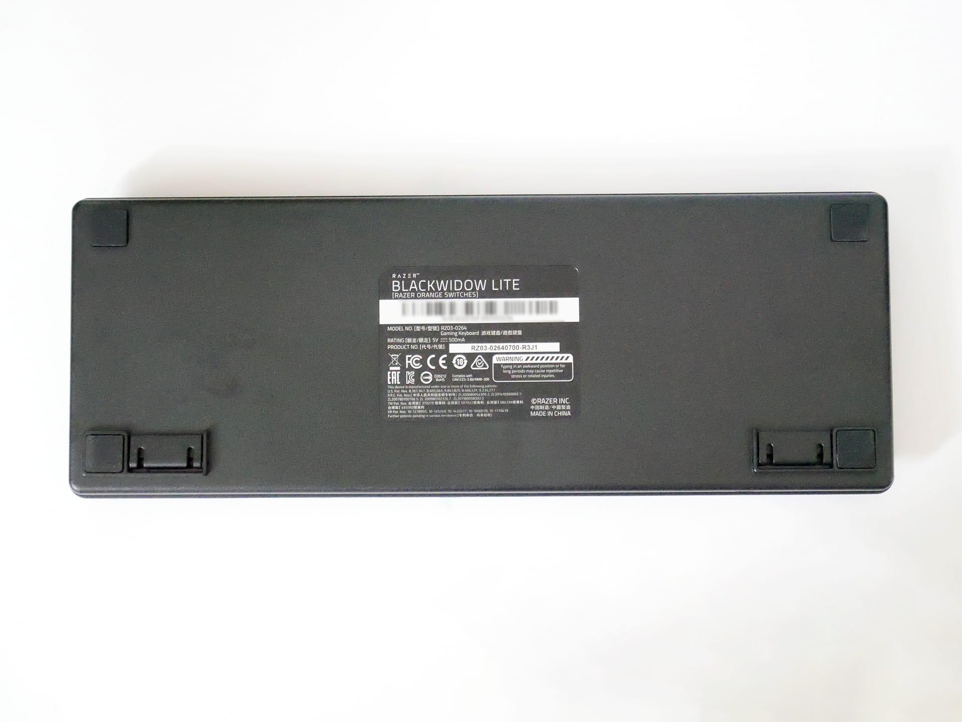 Razer BlackWidow Lite JPキーボード底面