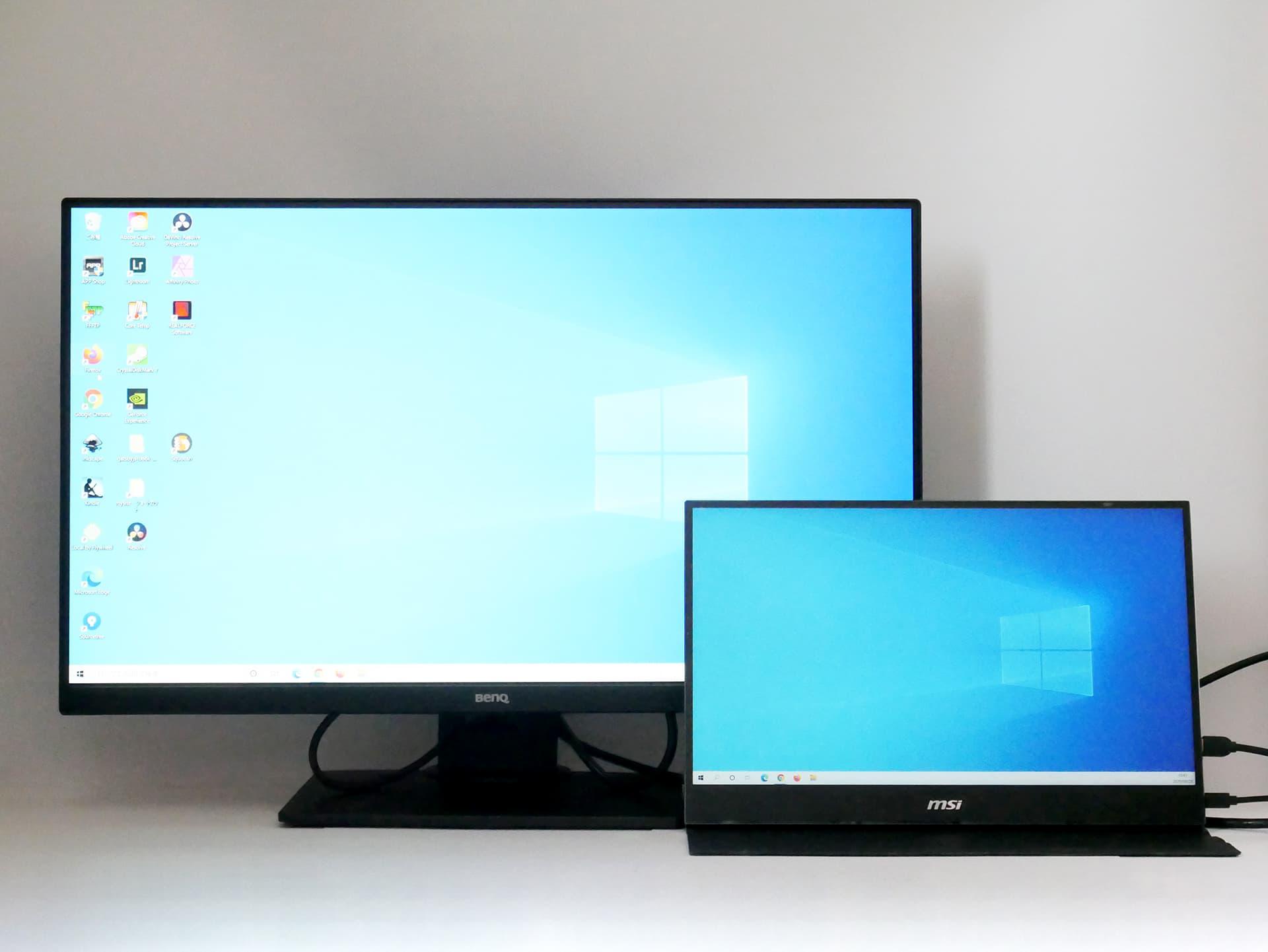 GW2780Tと15.6インチモニターの画面サイズ比較