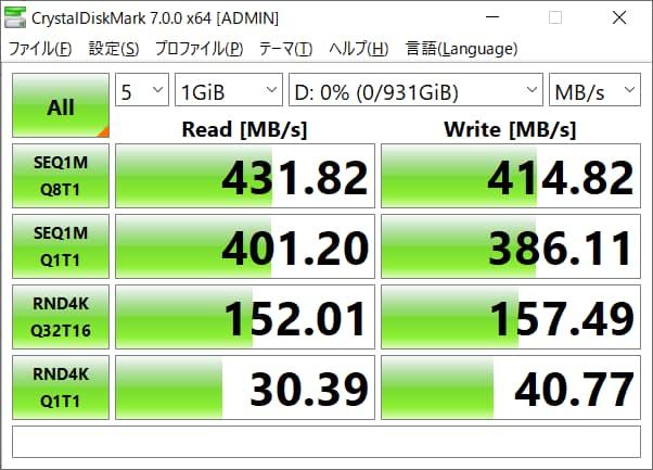 CrystalDiskMark ベンチマーク Read 431.82MB/s Write 414.82MB/s