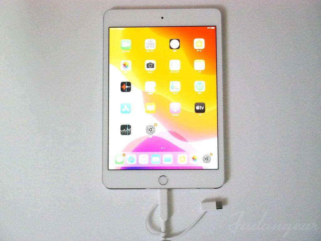 iPad miniにAnker PowerLine ll 3-in-1 ケーブルを接続