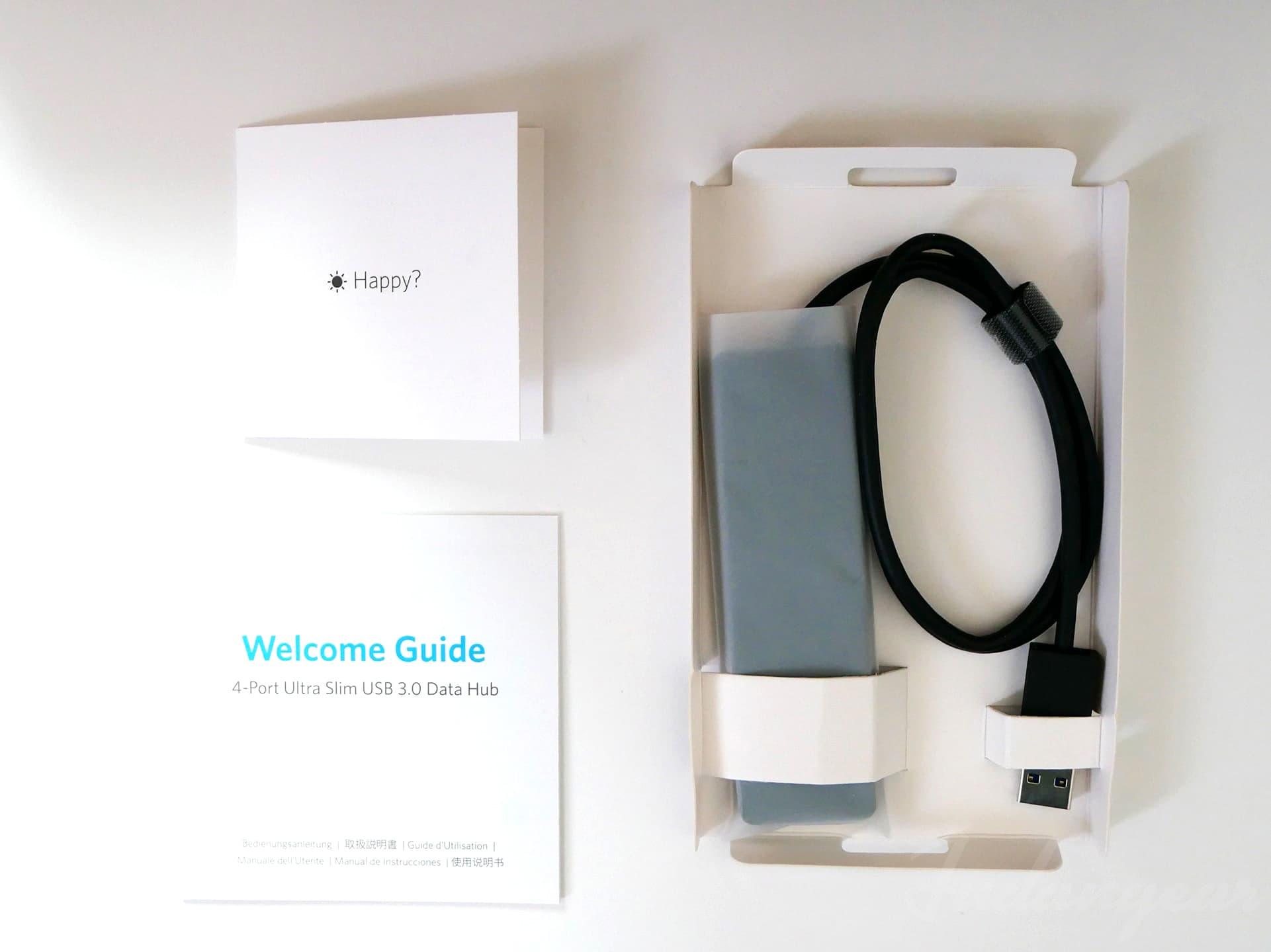 Anker「 Anker 4-Port Ultra-Slim USB 3.0 Hub(60cm ケーブル)」パッケージ同梱物