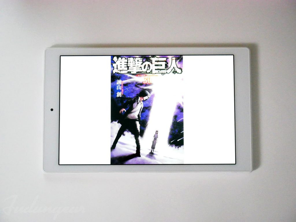Fire HD 10 タブレット(第9世代)で進撃の巨人表紙を表示した状態